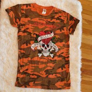 ☆ Ed Hardy Camo Print with Skull &Heart shirt ☆